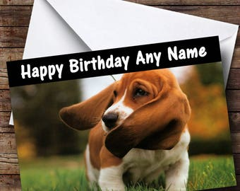 Basset hound cards etsy gorgeous basset hound dog personalised birthday card bookmarktalkfo Gallery
