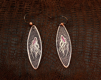 Salmonella Bacteria Etched Copper Earrings