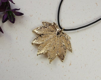 SALE Leaf Necklace, Gold Full Moon Maple Leaf, Real Maple Leaf Necklace, Gold Leaf Pendant,SALE101
