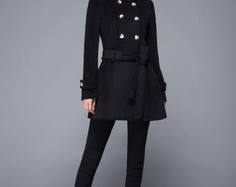 Winter coat, black coat, wool coat, women coat, vintage coat, black wool coat, womens wool coat, double breasted coat, handmade coat, c1222