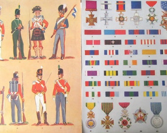 Vintage army book plates: 4 colour pages from a 1950s children's books. Paper ephemera, pictures for framing or for use in craft BP22