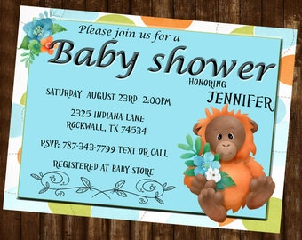 Orangutan Baby Shower Invitation