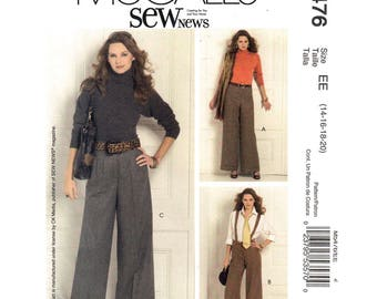 Wide Pants Pattern McCalls 5476 Suspender Pants, Flared Trousers Thin or Wide Waistband Women Sewing Pattern Size 14 16 18 20 UNCUT