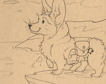 Visiting Wales - Corgi, cute, ink, pose, paper, storybook,