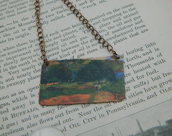 Art necklace Paul Gauguin mixed media jewelry