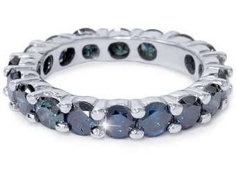 3.00Ct Blue Diamond Eternity Ring Stackable Wedding Band 14K White Gold Size 4-9
