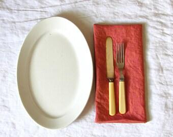 Linen Napkins, Cloth Napkins, Washed Linen, Pink, Orange, Eco Friendly, Reusable, Dining, Spring, Summer, Wedding, Set of Four