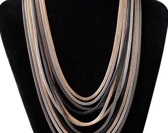 Statement boho bib necklace layered chain link gold silver black gunmetal wedding birthday gift