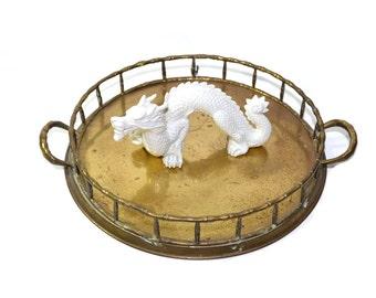 Brass Tray Faux Bamboo Tray Round Brass Tray Brass Serving Tray Hollywood Regency Tray Vanity Tray