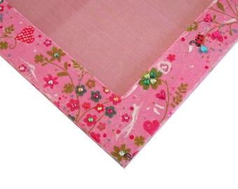 "Frame Photo girl 13x18cm - ""Un Air de Printemps"" - pink with flowers, hearts, ladybugs, rhinestones"