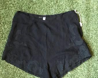 1930s Sheer Black Tap Pants Bloomers Sz L