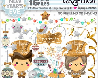 New Year's Eve Clipart, 80%OFF, Christmas Graphics, COMMERCIAL USE, Christmas Clipart, Planner Accessories, Winter Clipart, Holiday
