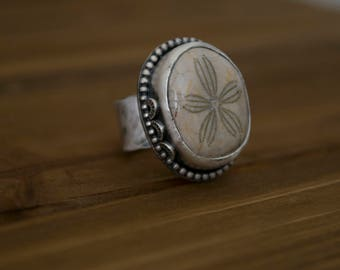 Silver Mermaid Ring | Turquoise Ring Womens | Real Turquoise Ring | Fossilized Sand Dollar Ring | Silver Bohemian Ring | Mermaid Ring