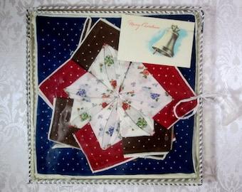 Vintage Swiss Handkerchief Lot Set of 12 Matching Printed Hankies MWT Mother's Day Gift Box Mint Unused Hanky Lot