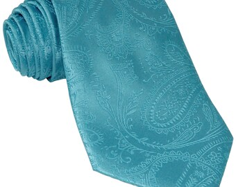 New Men's Paisley Turquoise Regular Necktie, for Formal Occasions