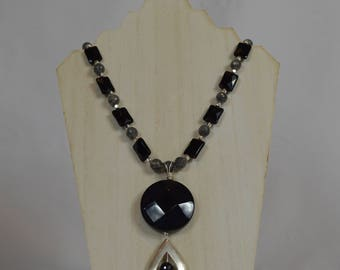 Silver and Black Onyx Pendant Necklace