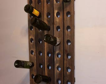 Riddling Wine Rack Distressed Worn Weathered and Warped Wood
