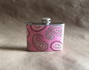 Mother's Day Gift On SALE Garter Flask Pink Paisley Print 4 Ounce Stainless Steel Hip Flask