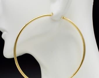 14k Solid Yellow Gold big Large Endless hoop Earrings. 60mm x 2MM  (#ga83)