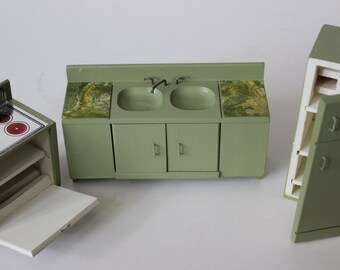 Vintage Kitchen Doll House Furniture  Refrigerator Oven Stove Sink Cabinets Wood Green Painted Miniature Furniture Halls Lifetime Furniture