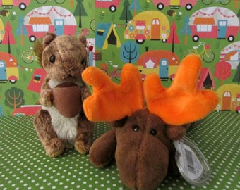 Must catch moose and squirrel!     Chocolate and Nutty Retired TY Beanie Babies W/ Both Tags