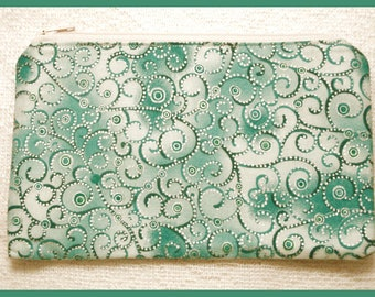 Zipper Bag Handmade with Teal Swirl Fabric