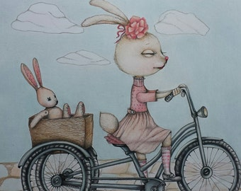 "Greetings Card "" Lucy the Rabbit"" 5 X 7. Nursery art. Baby Shower invitation. Birthday card. Bike pictures. Rabbit. Nursery Art"