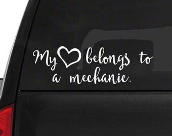 My heart belongs to a Mechanic • car window decal • fast shipping • wifey sticker my heart sticker decal my heart decal window sticker