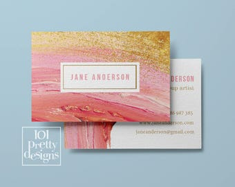 Watercolor business card design pastel printable business card design gold and pink business cards pinted busienss card gold pink makeup