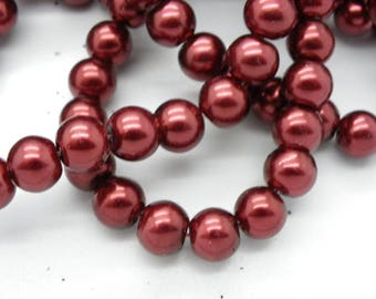 50 glass Pearl 8 mm with a beautiful Burgundy Red 8 mm beads
