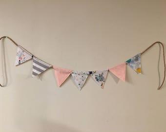 Ready to ship / Baby girl banner / Girl bunting / Pink nursery fabric banner / baby bunting / baby girl fox decor / baby shower decor