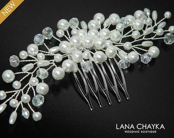White Pearl Bridal Hair Comb Pearl Floral Hair Comb Wedding Pearl Hair Piece White Pearl Headpiece Bridal Pearl Crystal Hair Jewelry