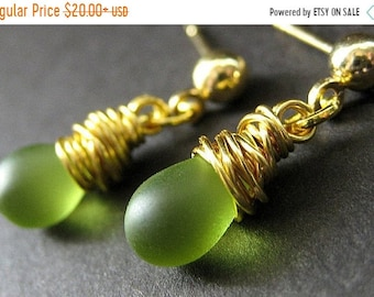 MOTHERS DAY SALE Green Earrings: Wire Wrapped Earrings. Gold Stud Dangle Earrings. Handmade Earrings.