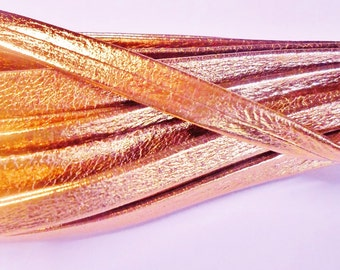 Pre Cuts: Metallic Rose Gold Genuine Nappa 10mm Flat Leather Cord, finding, bracelet, jewerly supplies,