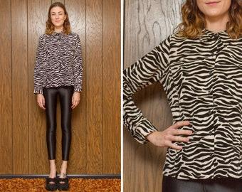 Vintage 90s 00s Gloria Vanderbilt Velvet Zebra Tiger Black White Graphic Wild Animal Print Button Long Sleeve Shirt Top Oxford Blouse S M