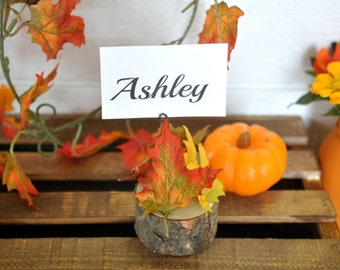 rustic fall wedding place card holders, rustic fall wedding log place card holders, rustic wedding decor, outdoor wedding decor, party table