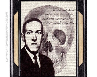 H P LOVECRAFT image and Quote art print wall decor Master of Horror and Massacre Literature writer black skull on dictionary book page 8x10