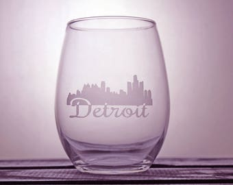 Detroit Skyline - Motor City - DET - Pure Michigan - Glassware - Wine Glass - Cityscape - Love My City - Gift Ideas - Gifts For Her