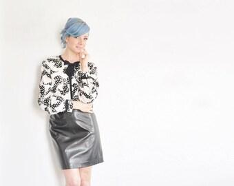bow tie pattern silk blouse . black white print . long sleeve shirt .medium.large .sale