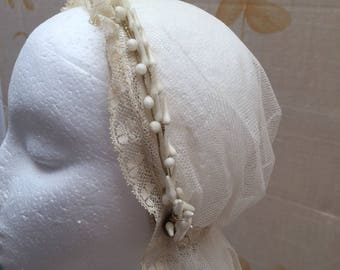 1920s vintage wax bridal wreath and tulle veil.