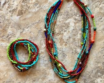 Multi Strand Colorful Beaded Necklace & Bracelet Set
