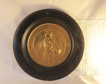 Vintage Brass Relief Horse Wall Hanging