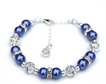 Periwinkle Blue Bracelet, Blue Bridesmaid Bracelets, Periwinkle Wedding, Bridesmaid Gifts, Pearl Rhinestone Jewelry, Bridesmaid Jewelry