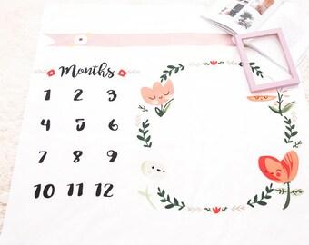 Girls Milestone blanket / Month Photography Prop / Counting Months / Animals milestone / floral / milestone / flower / girl blanket