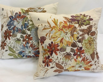 "19""x19"" Tapestry Pillow Cover Rich Brown Background w/ Contrasting Big Scale Flowers"