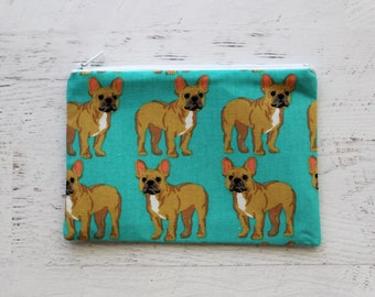 French bulldog zipper pouch - frenchie zip pouch - pet lovers gift - frenchie print bag - cute wallet - dog lovers gift