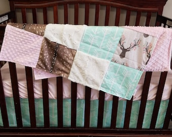 Baby Girl Crib Bedding - Tulip Fawn, Deer Skin Minky, Mint Arrow,Ivory Crushed Minky and Blush Crib Bedding Ensemble