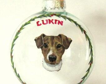 Custom Ornament, Jack Russell, Custom Pet Portrait Painting, Pet Memorial, Painted Glass, Christmas Ball, Dog Decor, HandPainted Ornament