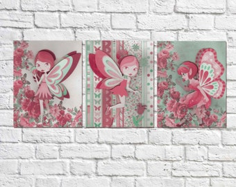 Fairy Wall Art, Girls Room Decor,Fairy wall art, Fairy Decor, Green and Pink Decor, Fairy Prints, Fairy Art, Wall Art for Gils
