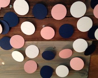 Navy Blue, Pale Pink and White Paper Garland Birthday Party Decor, Baby Shower Decor, Nursery, Wedding and Bridal Shower Decor, Etc!
